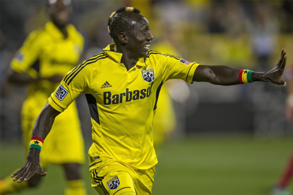 The Crew's Dominic Oduro celebrates his first half goal Saturday night, September 21, 2013. (The Columbus Dispatch / Alex Holt)
