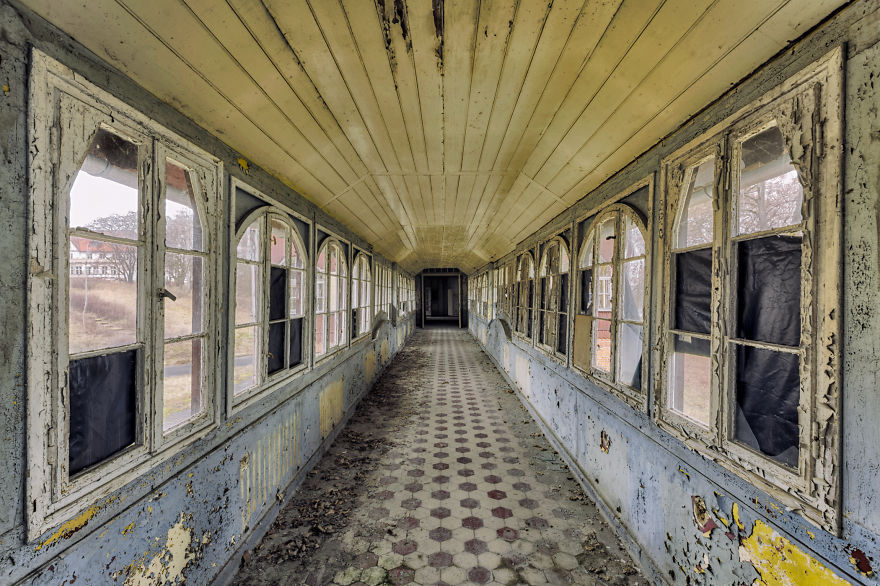 abandoned corridor in hospital