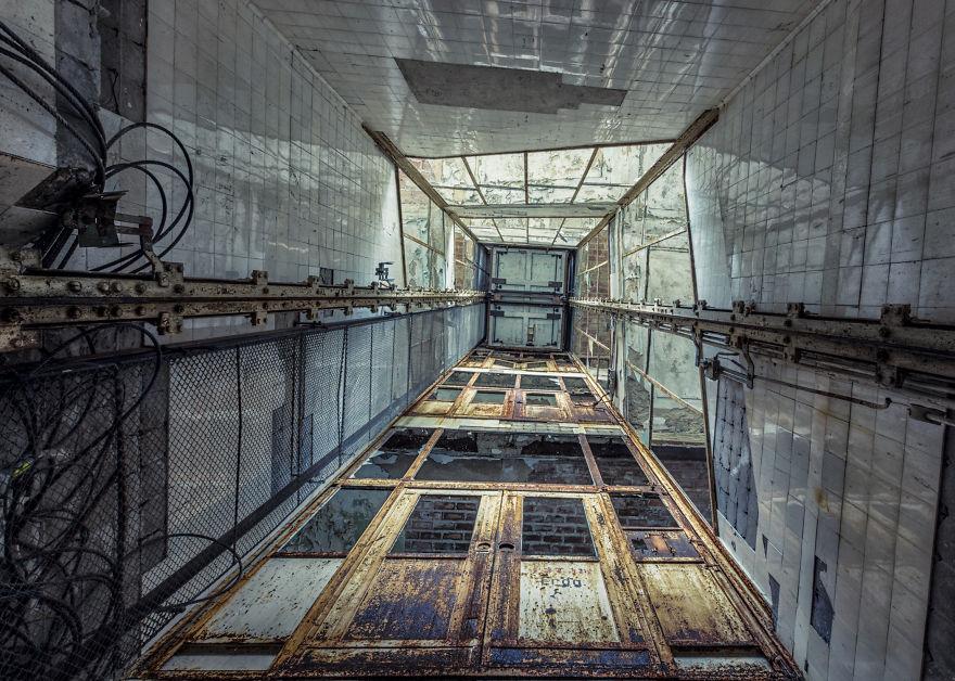 abandoned elevator in hospital