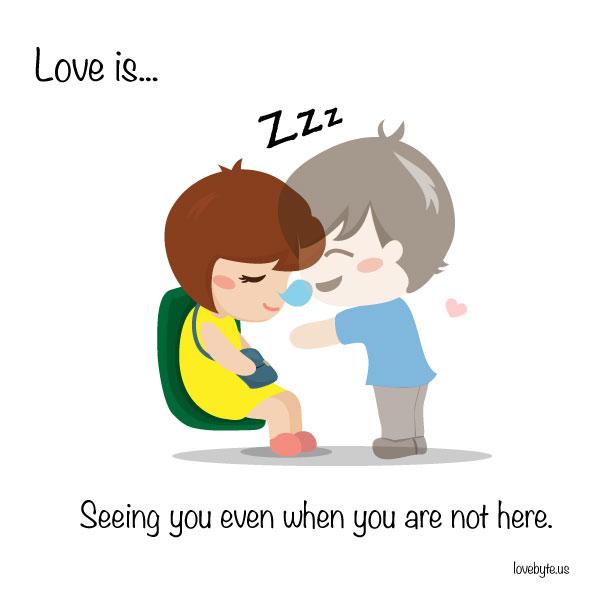 Любовта е... да те виждам, дори когато не си тук
