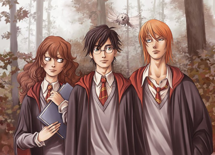 harry potter trio anime