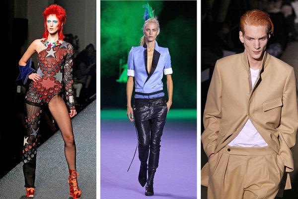 Модели, повлияни от образите на Дейвид Бауи. От ляво надясно: Жан-Пол Готие (есен 2013); Хайдер Акерман (пролет 2006); Дрис Ван Нотен (есен 2011)