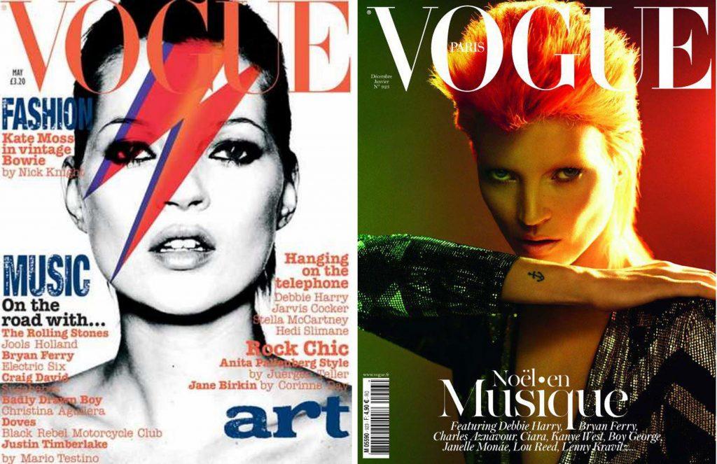 Британският супермодел Кейт Мос като Дейвид Бауи на две корици на Vogue