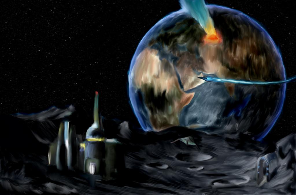 """""""Поглед от луната"""" - една от първите рисунки на Ива"""