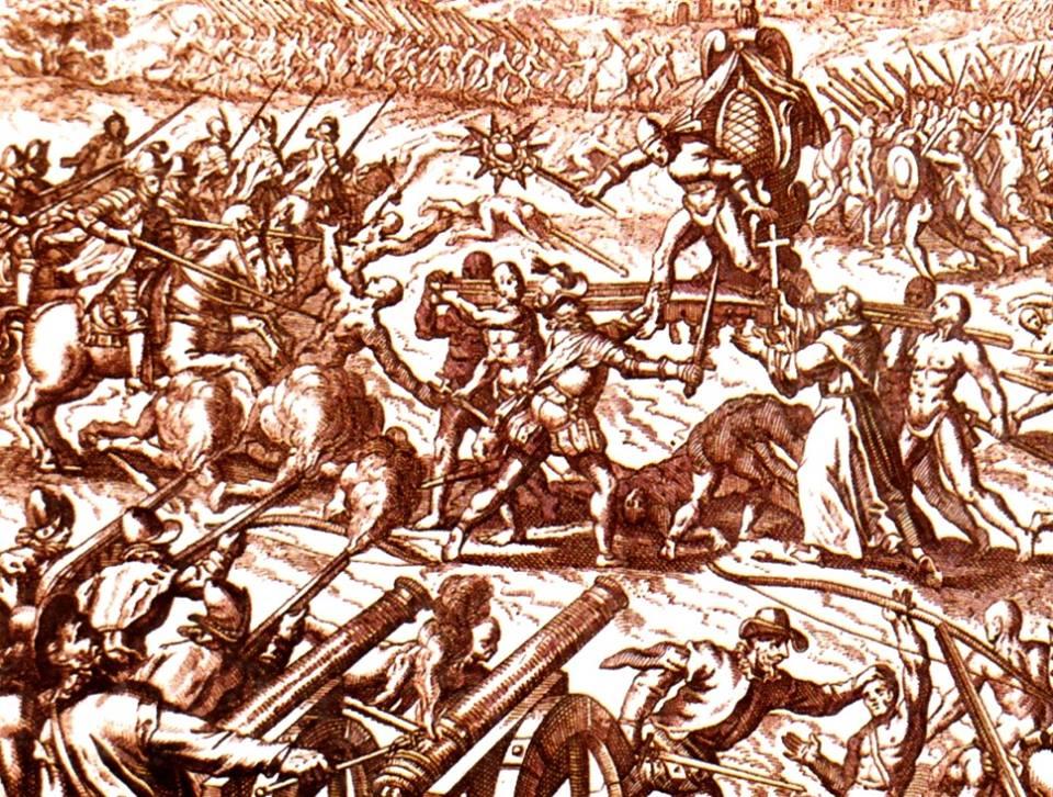 фиг.1 Битката при  Каямарка' средновековна гравюра 16 в.