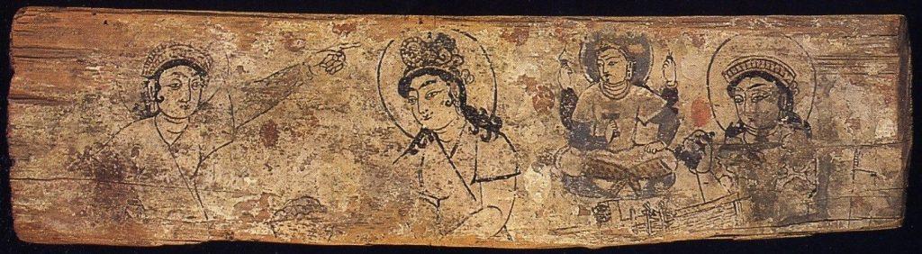 фиг.2 В тази картина е изобразена китайската принцеса изнесла тайната на коприната. Сложната й прическа прикрива пашкулите на копринени молец и семената на черницата. рисунка на дърво. British Museum
