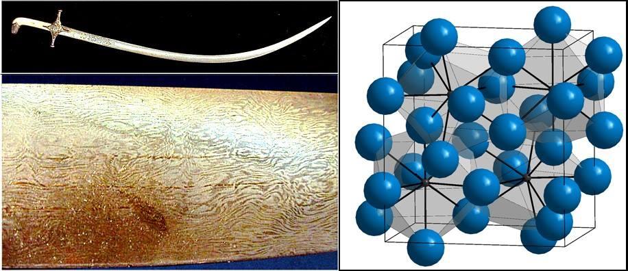фиг4. a) Шамшир от дамаска стомана. Иран, Тимурски период. б) молекулата на циментита: в синьо са атомите на желязото, в черно въглеродните атоми.
