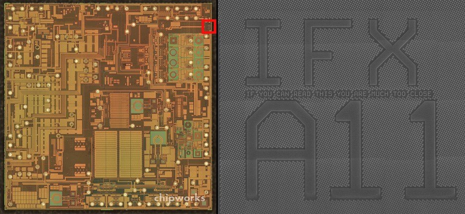 фиг.7 СЕМ снимка на а) чипa Infineon PMB5703 използван от Samsung б)увеличение на областта оградена от червения квадрат
