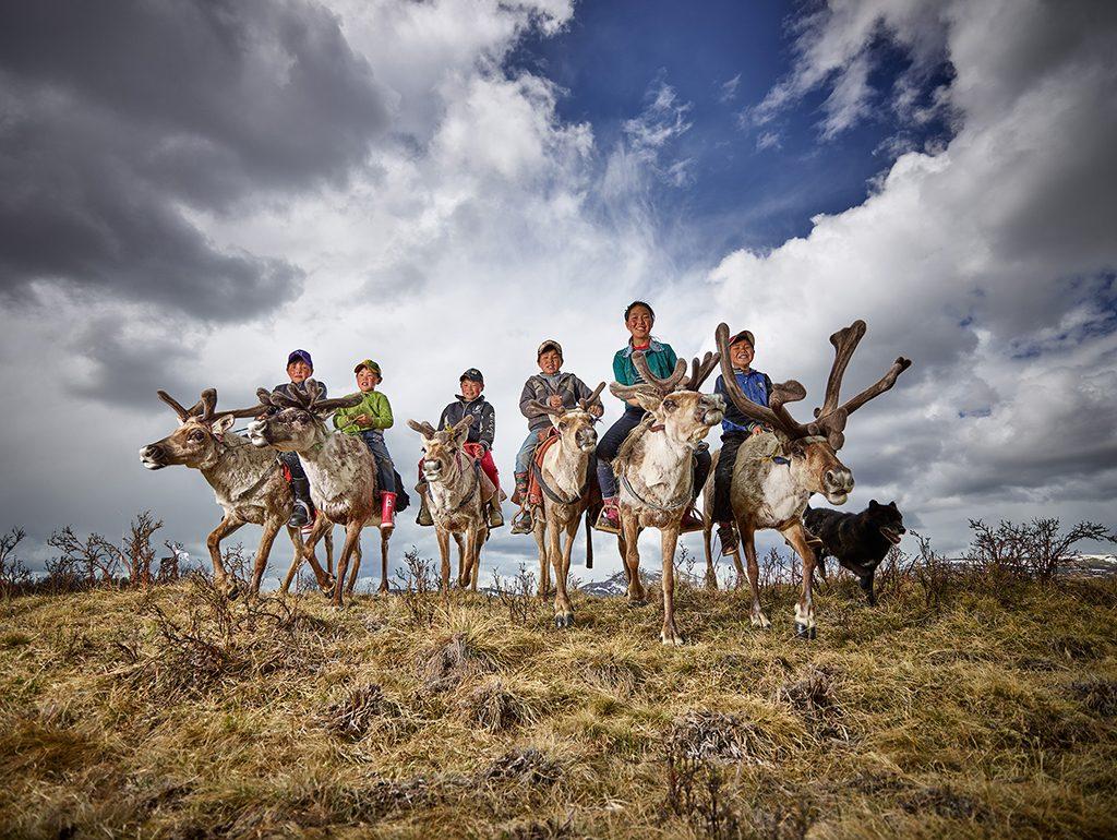 Reindeer farmer kids
